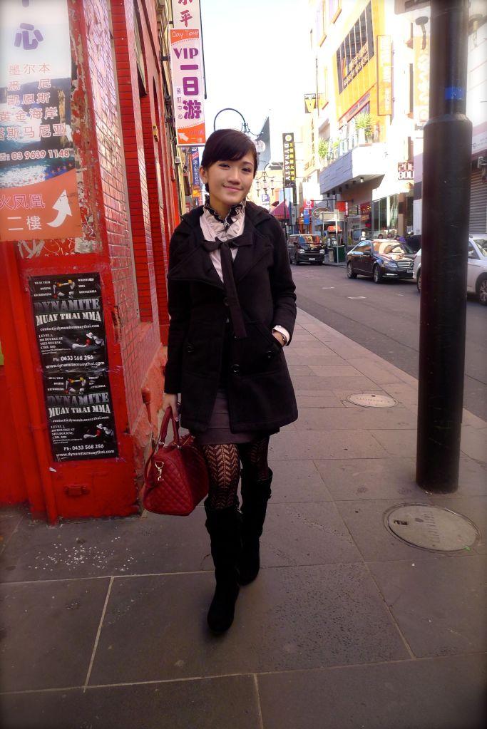 Eryn walking on the street.