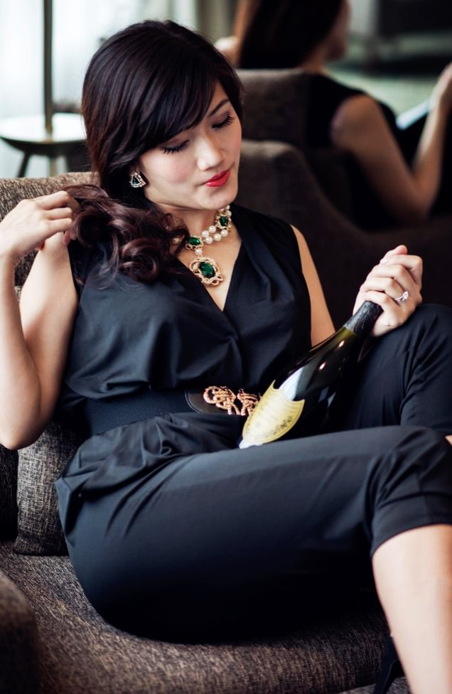 dom perignon black jumpsuit asian girl