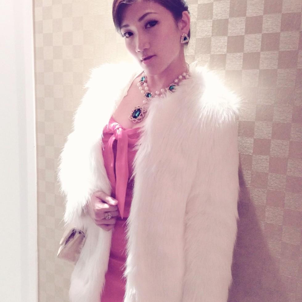 asian girl in red dress fur coat