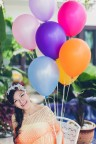 balloons smiles girl