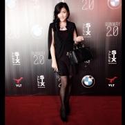 girl black dress red carpet