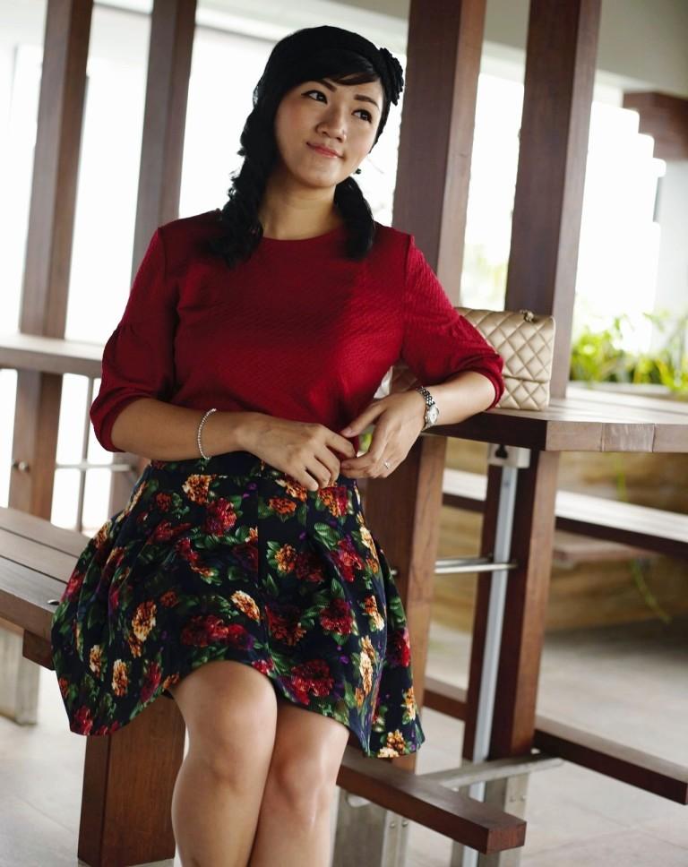 girl in red shirt floral skater skirt