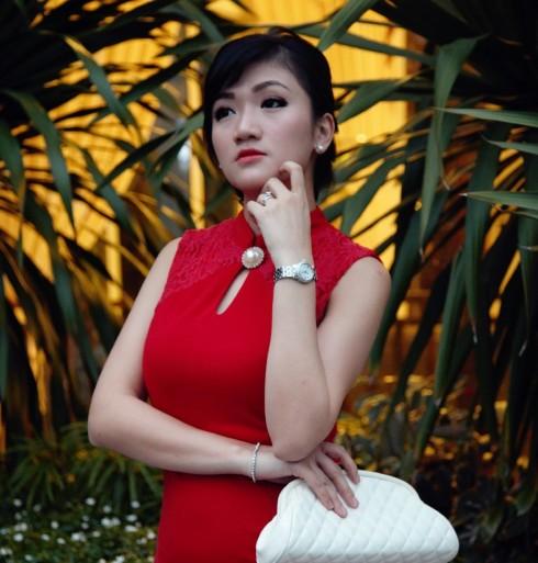 red cheongsam asian girl