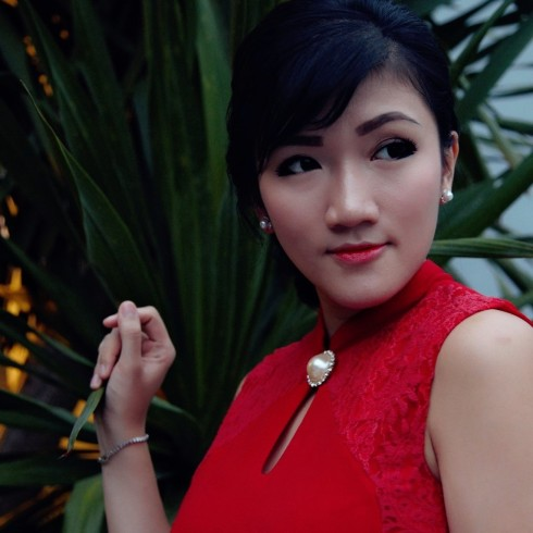 red cheongsam oriental look
