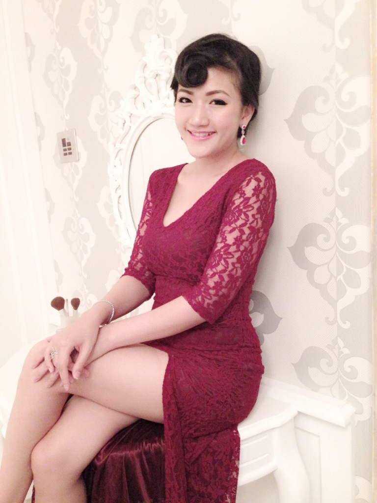 asian girl vintage maroon lacey dress