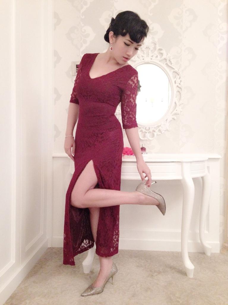 gold heels slit dress
