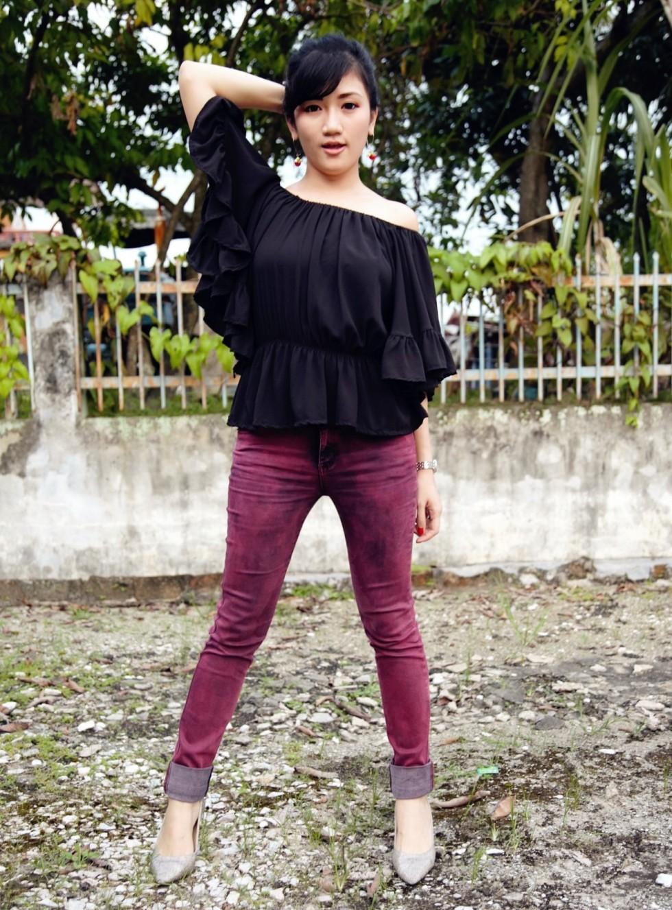 asian girl red denim jeans off shoulder blouse